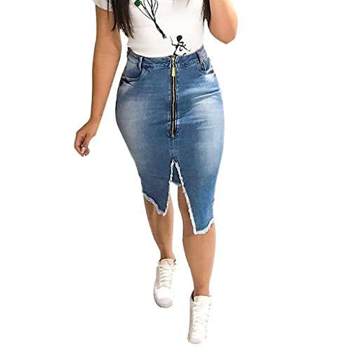 Denim Mini Rock Frau Mode Hohe Taille Riss Teilt Bodycon Streetstyle Kleider -