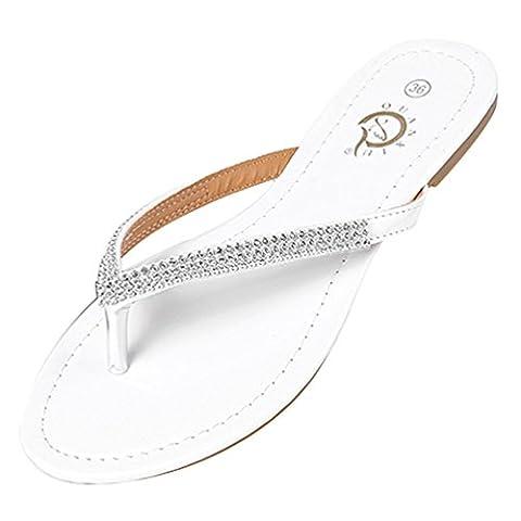 LvRao Damen Zehentrenner Sommer Sandalen Flache Peep-Toe Flip Flop Strand
