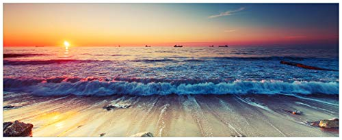 Wallario Acrylglasbild XXL Sonnenuntergang am Meer mit Wellen am Strand - 80 x 200 cm in Premium-Qualität: Brillante Farben, freischwebende Optik
