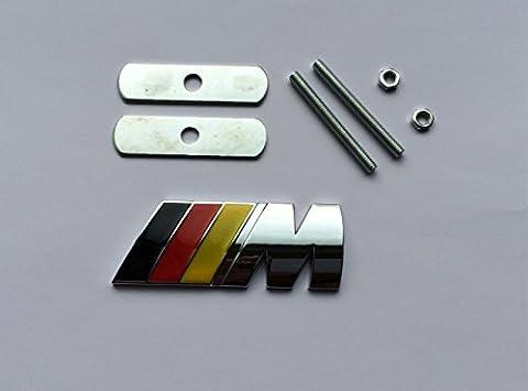 Logo BMW Motif drapeau allemand pour BMW M Pour grille avant En métal chromé