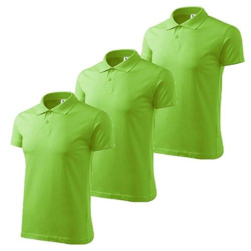 3er Pack Dress-O-Mat Herren Poloshirt Shirt Polohemd Apfel grün