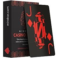 Mindrax Casino Cards | Wasserfeste Profi Designer Poker-Karten aus 100% Plastik | Französisches Blatt Schwarz 55 Blatt mit Jumbo Index | Hochwertiges Karten-Spiel für Texas Holdem Skat & Black-Jack
