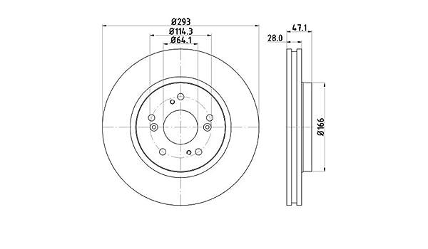 Vorderachse Set aus 2 Bremsscheiben Oberfl/äche beschichtet HELLA PAGID 8DD 355 129-061 Bremsscheibe PRO High Carbon