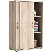 Armario bajo zapatero color haya de puertas correderas. 68x106cm. Mueble auxiliar almacenaje ropa calzado