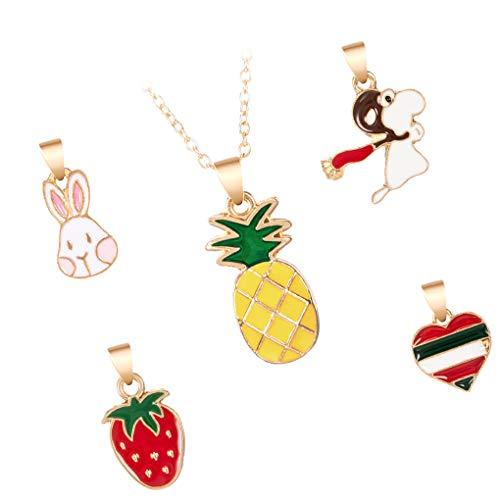 Bomcomi Cartoon-Ananas-Anhänger in Form Kit Frauen-Mädchen-Legierung Halskette Kit Öl Dripping Schmuck Geschenk