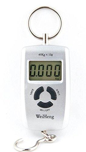 Quantum Abacus tragbare präzise Quantum Abacus Elektronische Reisewaage / Hängewaage / Gepäckwaage / Taschenwaage / Fischwaage 45kg/10g Genauigkeit schwarz - Mod. WH-45kg Grey DE