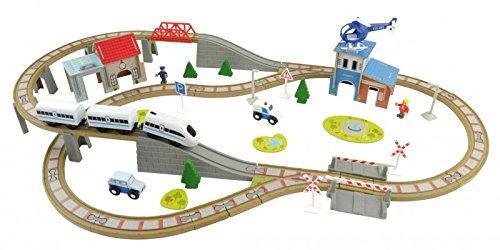 Holzeisenbahn Schienen Set mit elektrischer Lokomotive ICE 100 Teile Holz Auto