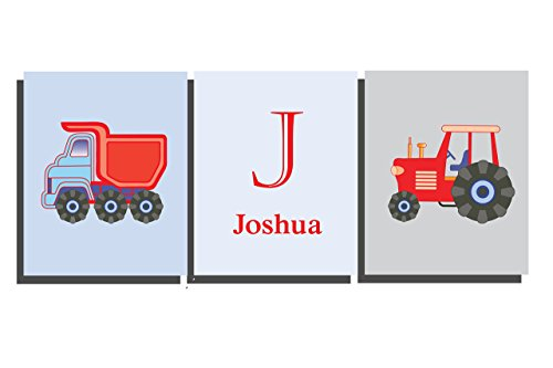 boys-nursery-room-decor-customised-wall-art-name-letter-truck-tractor-construction-prints-transport-
