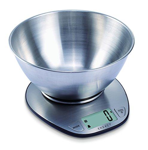 """EXZACT Bilancia elettronica di alta qualità da cucina in Acciaio Inossidabile, Dimensione del prodotto: 19,5 x 17,8 x 3,8 centimetri.  Ampio display LCD: 5,8 cm x 2,7 cm, con la funzione """"Zero"""" o """"Tara"""" per pesare i diversi ingredienti senza rimuover..."""