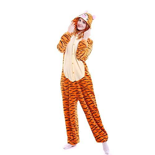 Topgrowth Pigiama Unisex Costume di Carnevale Tigre Pigiama Cosplay Party Onepiece Intero Animale Costumi Tuta Adulto Biancheria da Notte (Giallo, L)