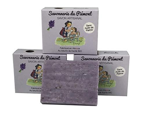 savonnerie du piemont 3 x palmölfreie Bioseife - 10 verschiedene Duftrichtungen auf Basis von Oliven- und Kokosöl(Lavendel)