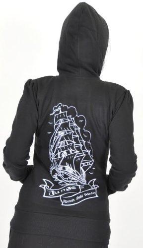 Küstenluder JUNGE... HOODED Zip Sweat Kapuzen-JACKE - Schwarz Rockabilly Schwarz mit weißem Print