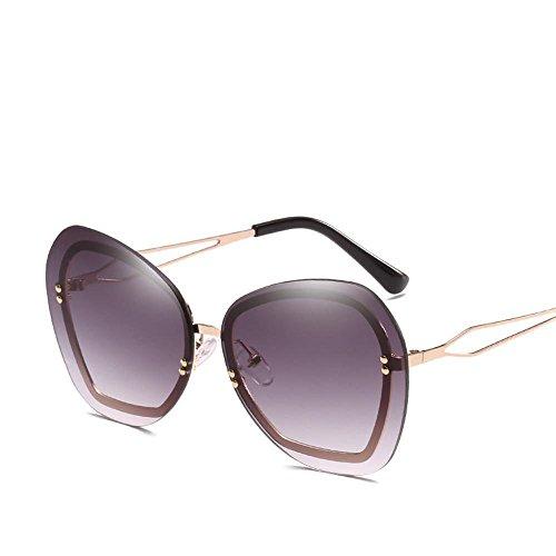 Aoligei Europa und die Vereinigten Staaten Flut Sonnenbrille Marke Keine Frame-Reis-Nagel Dekoration Lady Sonnenbrille Big Box Trend Sonnenbrillen