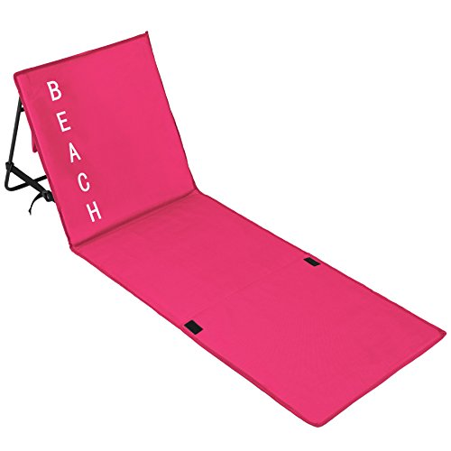 TecTake Gepolsterte Strandmatte mit Verstellbarer Rückenlehne und praktischem Tragegurt - Diverse Farben - (Pink | Nr. 402443)