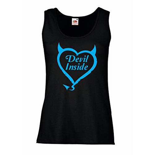 Damen Tank-Top Devil Inside Devil Kostüme lustige Kleidung, Geschenke für Gamer, Cooler Slogan (Small Schwarz Blau)