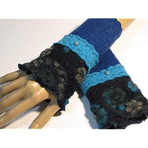 Armstulpen/Pulswärmer: Walkwolle (Walkloden, Kochwolle) in Dunkelblau und in Hellblau, dehnbare Walkwolle (Strickwalk…