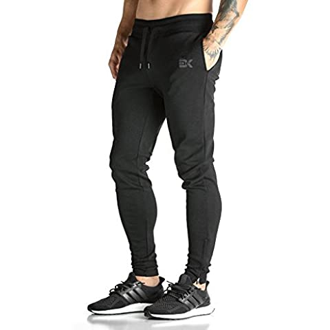 Broki Mens ZIP JOGGER Trousers - Casual GYM Fitness Comfortable Tracksuit Slim Fit Chinos Sweat Pants (Black)