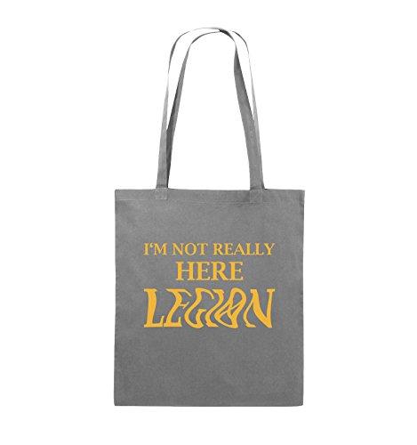 Comedy Bags - I'M NOT REALLY HERE LEGION - LOGO - Jutebeutel - lange Henkel - 38x42cm - Farbe: Schwarz / Silber Dunkelgrau / Gelb