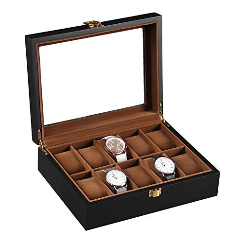 Woody Scatola Porta Orologi Per Box Storage Gioielli,10 Griglia Esclusivo Regalo Matt Scatola Di Raccolta Orologi