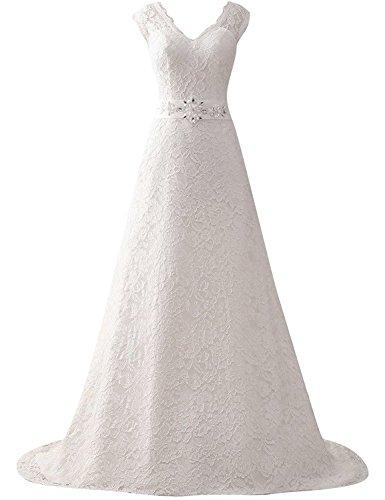 JAEDEN Donne scollo a V Abiti da sposa Lungo Pizzo Vestito da cerimonia Bianco