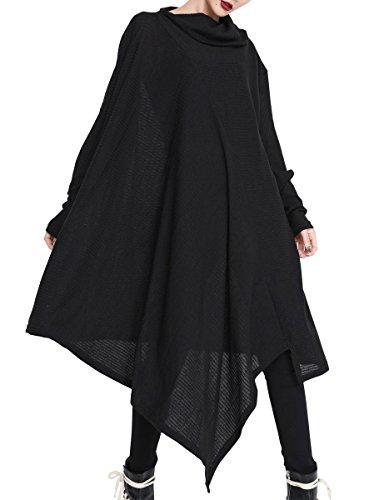 ELLAZHU Femme Automne&Hiver Col Roulé Lâche Frange Irréguilère Pull-Over Robe GY1468