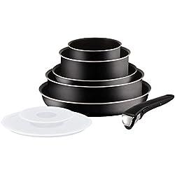 Tefal L2009902 Set de poêles et casseroles - Ingenio 5 Essential Noir Set 8 Pièces - Tous feux sauf induction