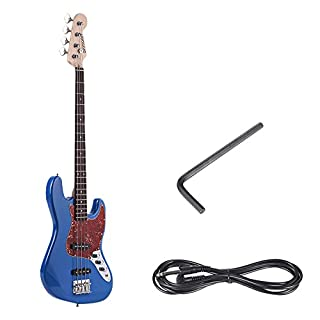 ammoon Solid Wood 4 String JB Electric Bass Guitar Basswood Body Rosewood Fretboard 21 Frets with 6.35mm Cable
