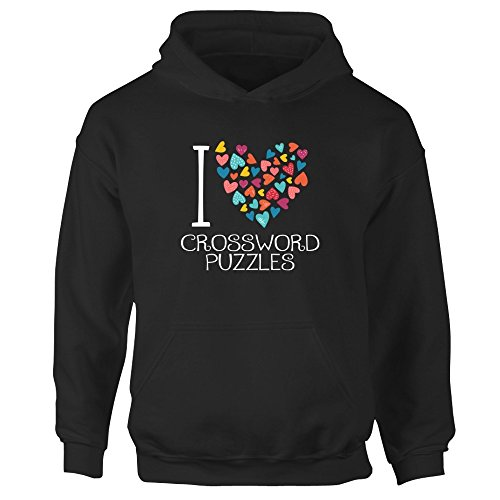 Idakoos I love Crossword Puzzles colorful hearts - Sudadera con capucha niña