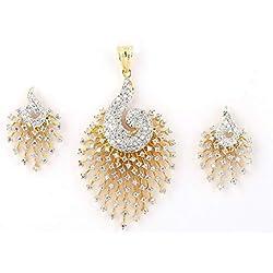 JSD American Diamond 18K Gold Plated Pendant Set for Women