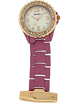 Henley hf07.13–Taschenuhr, Edelstahl-Armband Violett