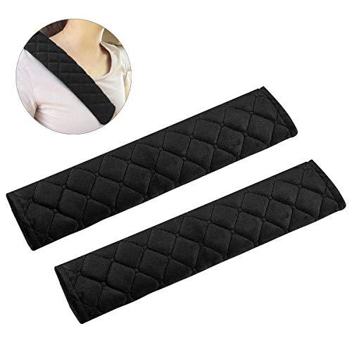 Guaine per cintura di sicurezza, confezione da 2 copricerchiera di sicurezza cuscino morbido per cintura con cuscinetto a tracolla con gancio e passante per auto - nero