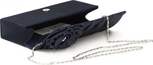 VINCENT pEREZ, clutch, sac bandoulière, unterarmtaschen abendtaschen, satin, perles décoration-motif roses, 10 x 25,5 x 5 cm (H x L x P) Bleu - Dunkelblau (Navy)