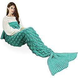 Hecho a mano de punto manta de cola de sirena todas las estaciones cálido sofá cama sala de estar manta para adultos, Patrón de Fish-escalas, Verde, 195 x 90cm