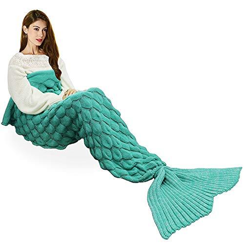 Ecrazybaby888 Hecho a Mano de Punto Manta de Cola de Sirena Todas Las Estaciones cálido sofá Cama Sala de Estar Manta para Adultos, Patrón de Fish-Escalas, Verde, 195 x 90cm