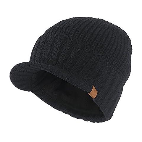 Kuyou Strickmütze mit Schild Herren Winter Visor Beanie Cap (Schwarz) (Schildmützen Herren)