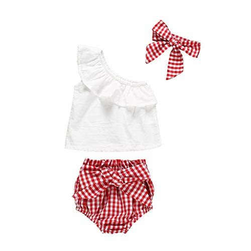 Generic JERFER Baby Set Sommer Infant Girls Off Shoulder Ruffles Lace Tops+Plaid Shorts+Headband Outfits - Lace Off Shoulder Top