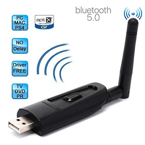 HOUSON USB Bluetooth 5.0 Adapter, Bluetooth Sender Transmitter mit 3.5mm AUX Kabel für TV Laptop PS4 Nintendo Switch, aptX Low Latency, Plug&Play Dual Link für 2 Kopfhörer Lautsprecher