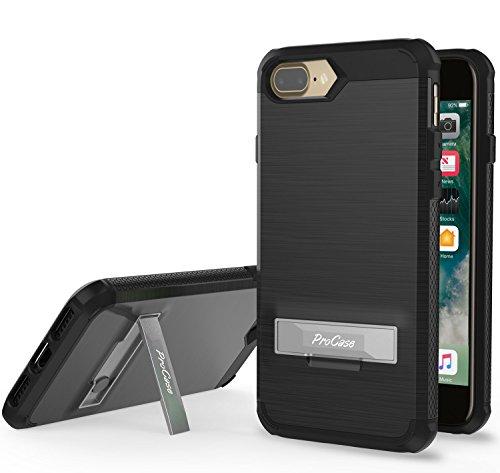 Étui iPhone 8 Plus / iPhone 7 Plus, ProCase Kickstand Housse de protection hybride Housse d'armure pour Apple iPhone 8 Plus / iPhone 7 Plus -Noir Noir