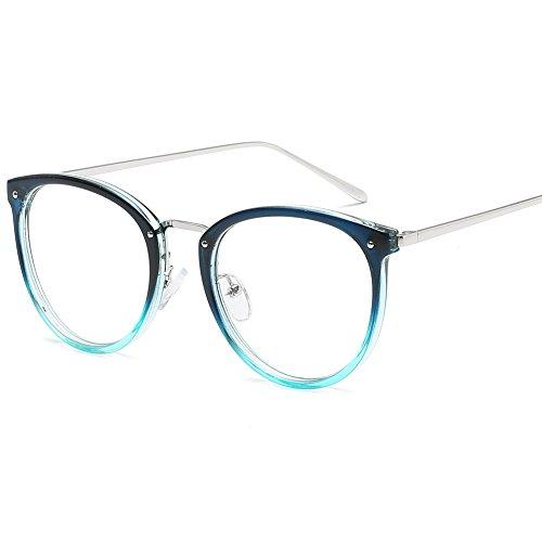 VEVESMUNDO Monturas de Gafas Mujer Hombre Retro Vintage Anteojos Lente Claro Sin Dioptría (Azul)
