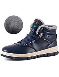 IceUnicorn Herren Winterschuhe Warme Schneestiefel Gefüttert Outdoor Rutschfeste Stiefel Leder Knöchel Stiefel Wasserdicht Boots