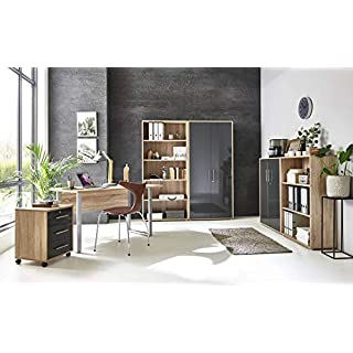 BMG-Moebel.de Büromöbel komplett Set Arbeitszimmer Office Edition Mini in Sonoma Eiche/Anthrazit Hochglanz (Set 1)