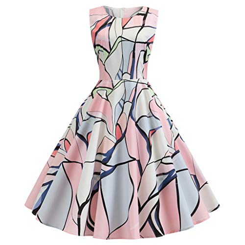 WooCo Frauen Partykleider für Hochzeitsgast, Damen 1950er Jahre Retro Vintage ärmellose Schaukel Bedruckte Kleider hoch tailliert - Damen Sommer Sale(Mehrfarbig,XL)