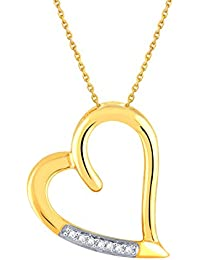 Silvernshine D/VVS1 Diamond Accents 14k Yellow Gold Fn .925 Sterling Heart Pendant Necklace