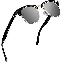 VVA Gafas de sol polarizadas clásico retro medio marco para Hombre y Mujer V1002(Negro Plateado)