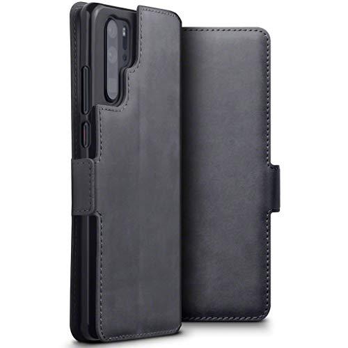 TERRAPIN, Kompatibel mit Huawei P30 Pro Hülle, ECHT Spaltleder Börsen Tasche - Slim Fit - Betrachtungsstand - Kartenschlitze - Grau