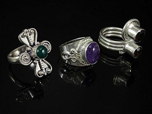 Banithani lot bande anneau indien créateur de mode de 3 pièces en métal argenté beaux bijoux Multicolore (conception # 3)
