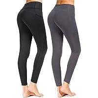 Munvot Sport Leggings Damen mit Taschen 1 bis 2er Pack - Sporthose Yogahose Laufhose Tights Fitnesshose Yoga Leggings für Damen