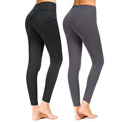 Munvot Sport Leggings Damen mit Taschen lang Sporthose Yogahose Laufhose Tights Fitnesshose Yoga Leggings für Damen A1189 / 2er Pack (03 + 02) XXL