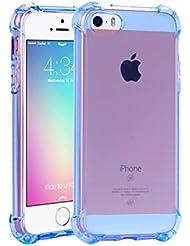 iPhone se caso iPhone 5S carcasa de silicona, yoowei® Funda de cojín de aire tecnología Carcasa de Protección con transparente Panel trasero Premium silicona Gel TPU anti-drop anti-scratch Carcasa para iPhone se/5/5S
