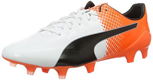 Puma Herren evoSPEED SL-S II FG Fußballschuhe, Weiß White Black-Shocking Orange 04), 40.5 EU - Männer Weiße Cleats